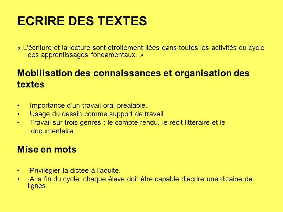 ECRIRE DES TEXTES « Lécriture et la lecture sont étroitement liées dans toutes les activités du cycle des apprentissages fondamentaux. » Mobilisation