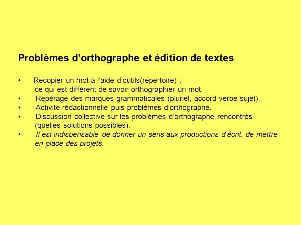 Problèmes dorthographe et édition de textes Recopier un mot à laide doutils(répertoire) ; ce qui est différent de savoir orthographier un mot.