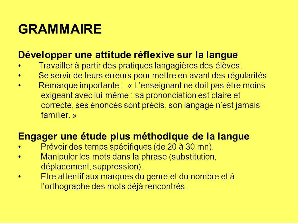 GRAMMAIRE Développer une attitude réflexive sur la langue Travailler à partir des pratiques langagières des élèves. Se servir de leurs erreurs pour me