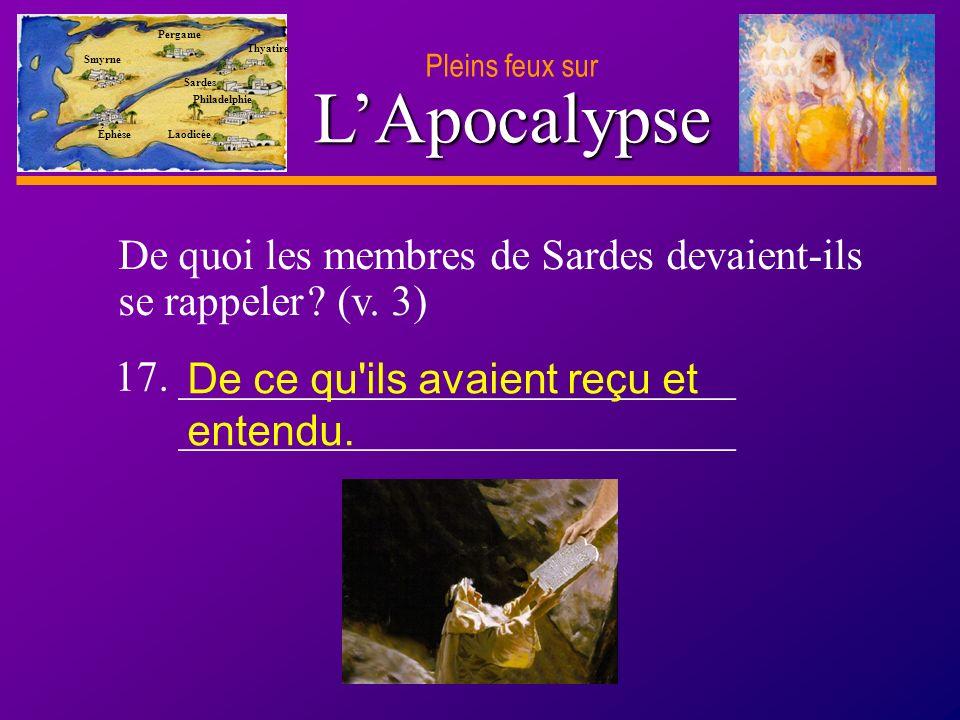 D anie l Pleins feux sur 32 LApocalypse Pleins feux sur Smyrne Pergame Thyatire Sardes Philadelphie Laodicée Éphèse De quoi les membres de Sardes devaient-ils se rappeler .