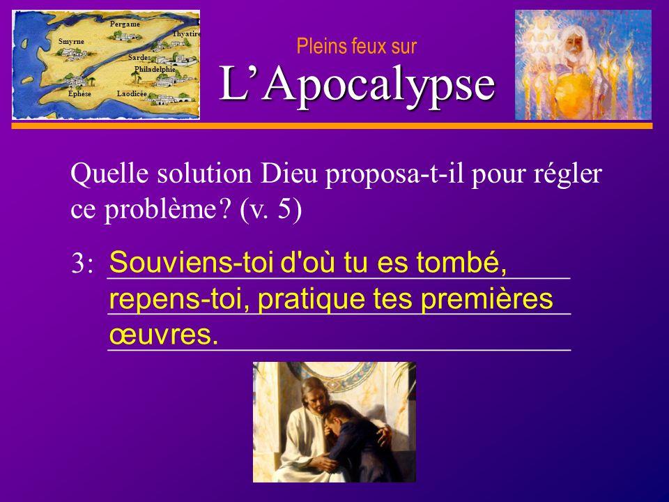 D anie l Pleins feux sur 8 LApocalypse Smyrne Pergame Thyatire Sardes Philadelphie Laodicée Éphèse 4: ____________________________________ ____________________________________ Que promit Dieu à ceux qui lui obéiraient .