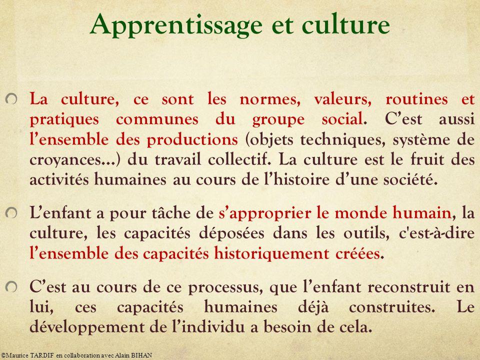 Apprentissage et culture La culture, ce sont les normes, valeurs, routines et pratiques communes du groupe social. Cest aussi lensemble des production