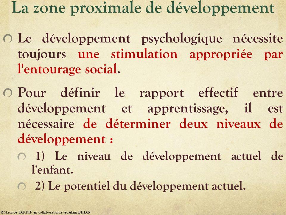 La zone proximale de développement Le développement psychologique nécessite toujours une stimulation appropriée par l'entourage social. Pour définir l