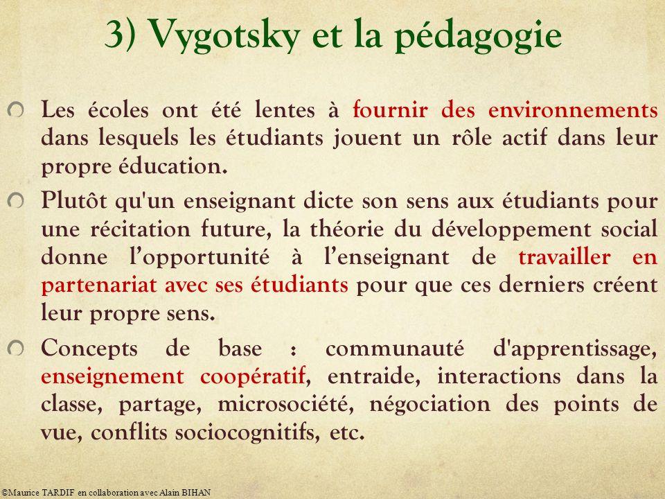 3) Vygotsky et la pédagogie Les écoles ont été lentes à fournir des environnements dans lesquels les étudiants jouent un rôle actif dans leur propre é