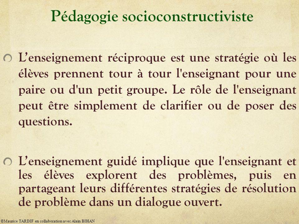 Pédagogie socioconstructiviste Lenseignement réciproque est une stratégie où les élèves prennent tour à tour l'enseignant pour une paire ou d'un petit