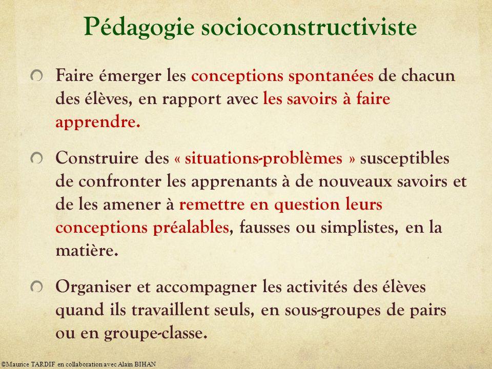 Pédagogie socioconstructiviste Faire émerger les conceptions spontanées de chacun des élèves, en rapport avec les savoirs à faire apprendre. Construir