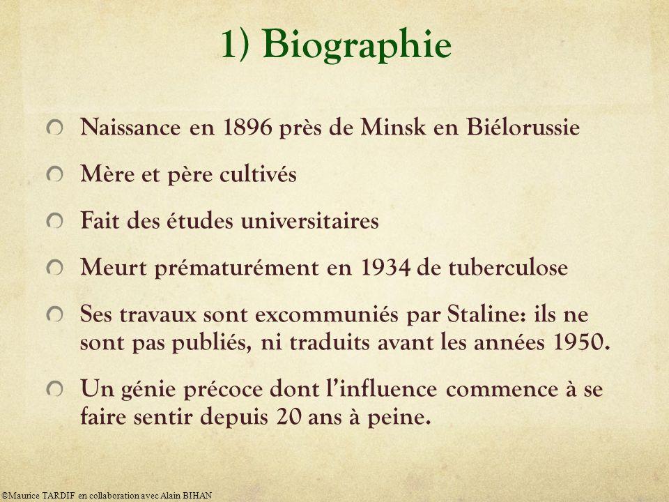 1) Biographie Naissance en 1896 près de Minsk en Biélorussie Mère et père cultivés Fait des études universitaires Meurt prématurément en 1934 de tuber
