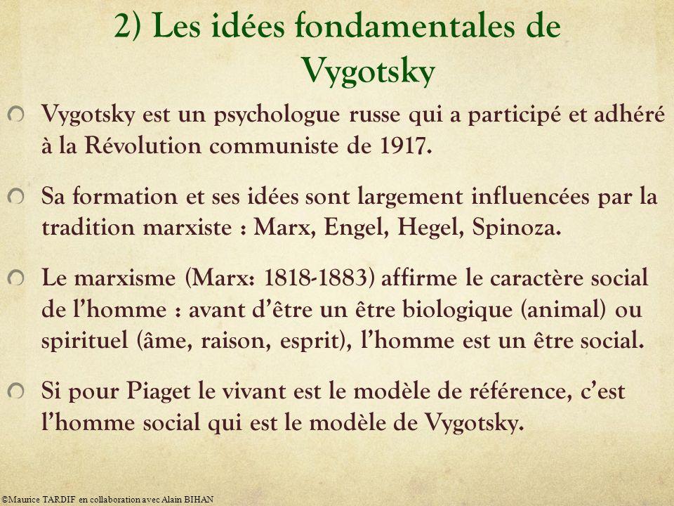 2) Les idées fondamentales de Vygotsky Vygotsky est un psychologue russe qui a participé et adhéré à la Révolution communiste de 1917. Sa formation et