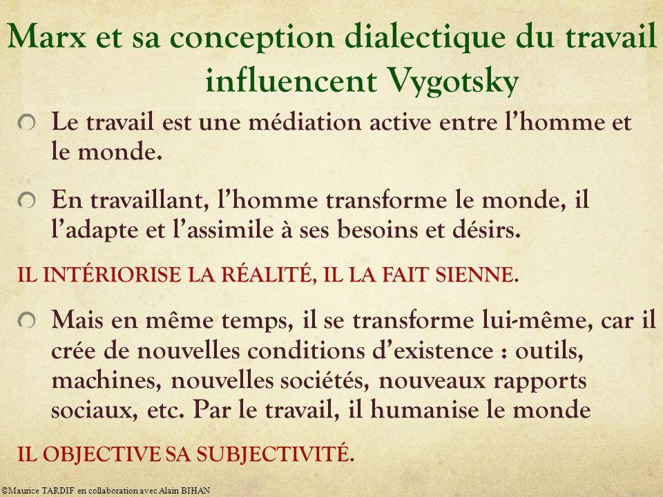 Marx et sa conception dialectique du travail influencent Vygotsky Le travail est une médiation active entre lhomme et le monde. En travaillant, lhomme