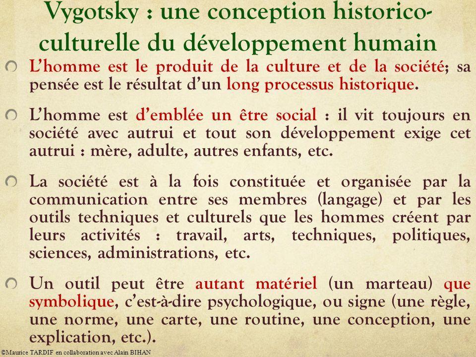 Vygotsky : une conception historico- culturelle du développement humain Lhomme est le produit de la culture et de la société; sa pensée est le résulta