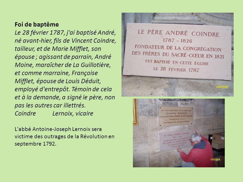 En 1799, le père dAndré change de profession, passant de couturier à commerçant de sel, et aussi de résidence, choisissant d aller vivre tout près de l église Saint-Nizier.
