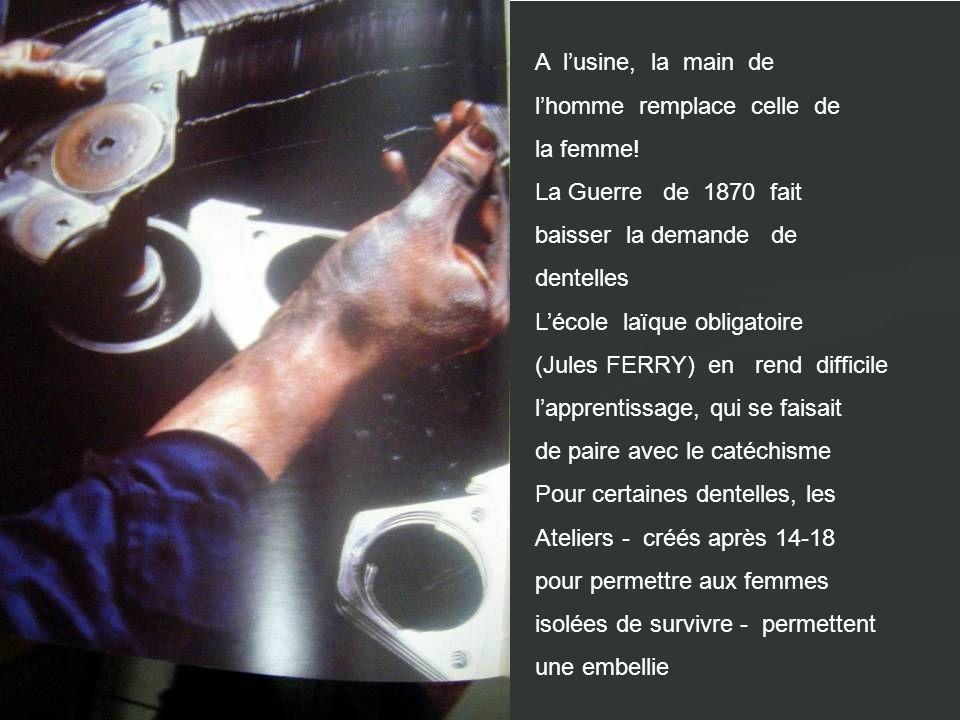 A lusine, la main de lhomme remplace celle de la femme! La Guerre de 1870 fait baisser la demande de dentelles Lécole laïque obligatoire (Jules FERRY)