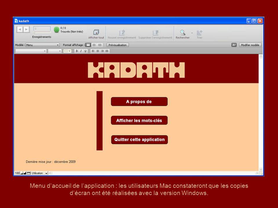 Menu daccueil de lapplication : les utilisateurs Mac constateront que les copies décran ont été réalisées avec la version Windows.