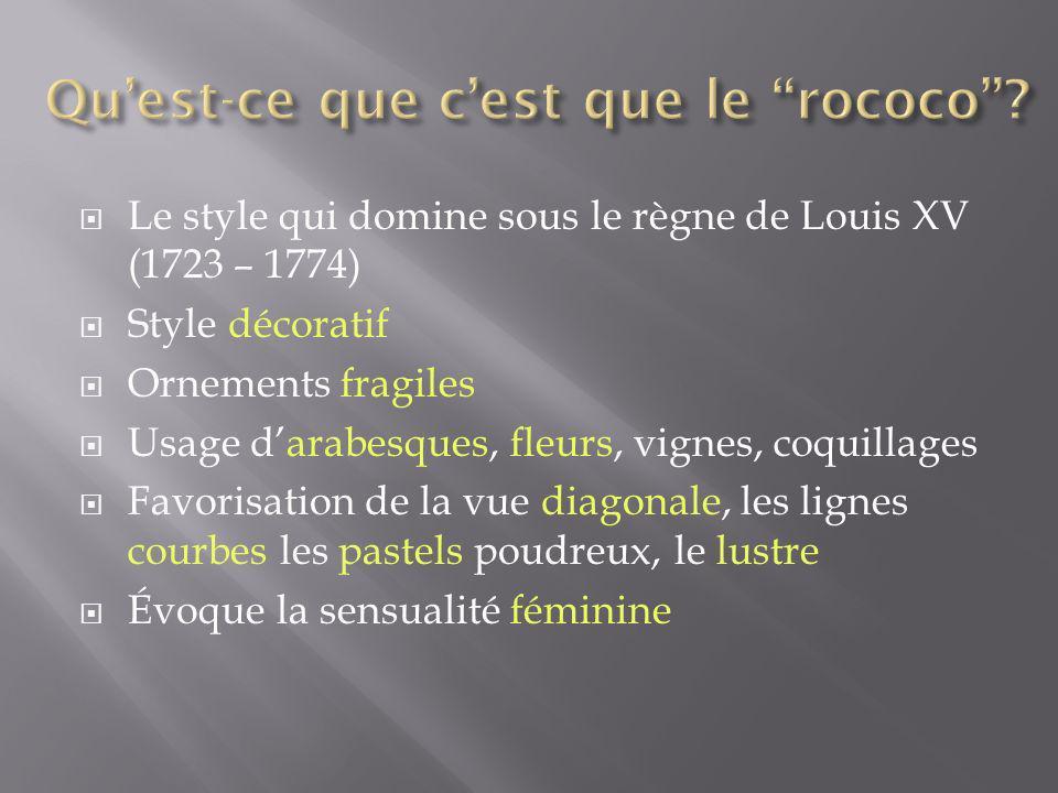 Le style qui domine sous le règne de Louis XV (1723 – 1774) Style décoratif Ornements fragiles Usage darabesques, fleurs, vignes, coquillages Favorisa