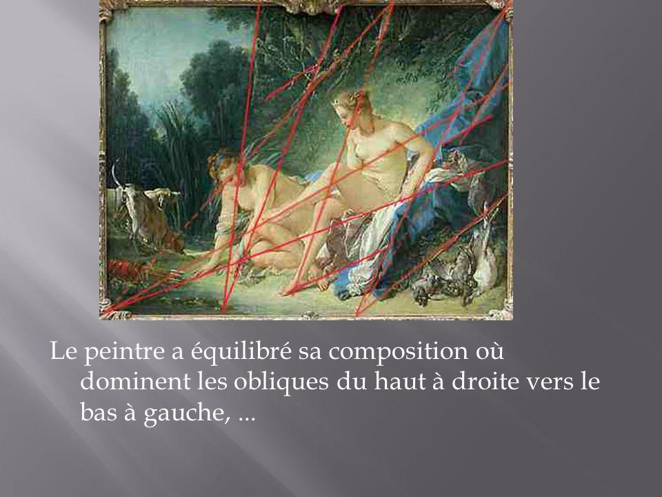 Le peintre a équilibré sa composition où dominent les obliques du haut à droite vers le bas à gauche,...
