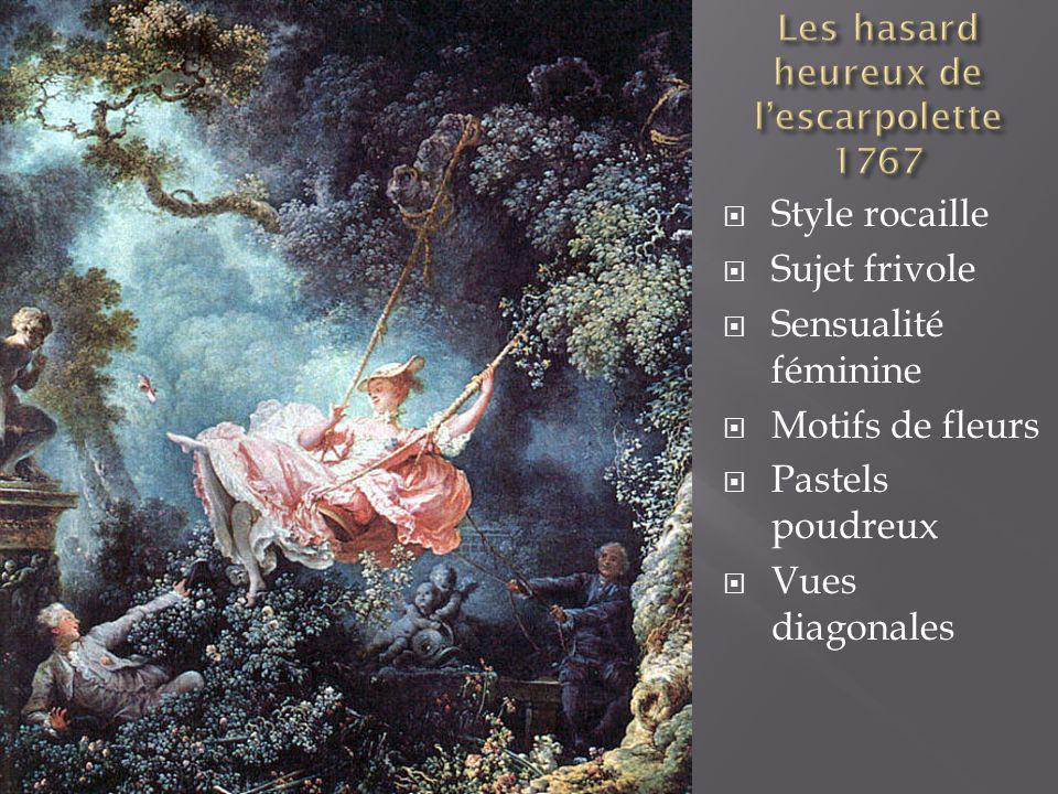 Style rocaille Sujet frivole Sensualité féminine Motifs de fleurs Pastels poudreux Vues diagonales