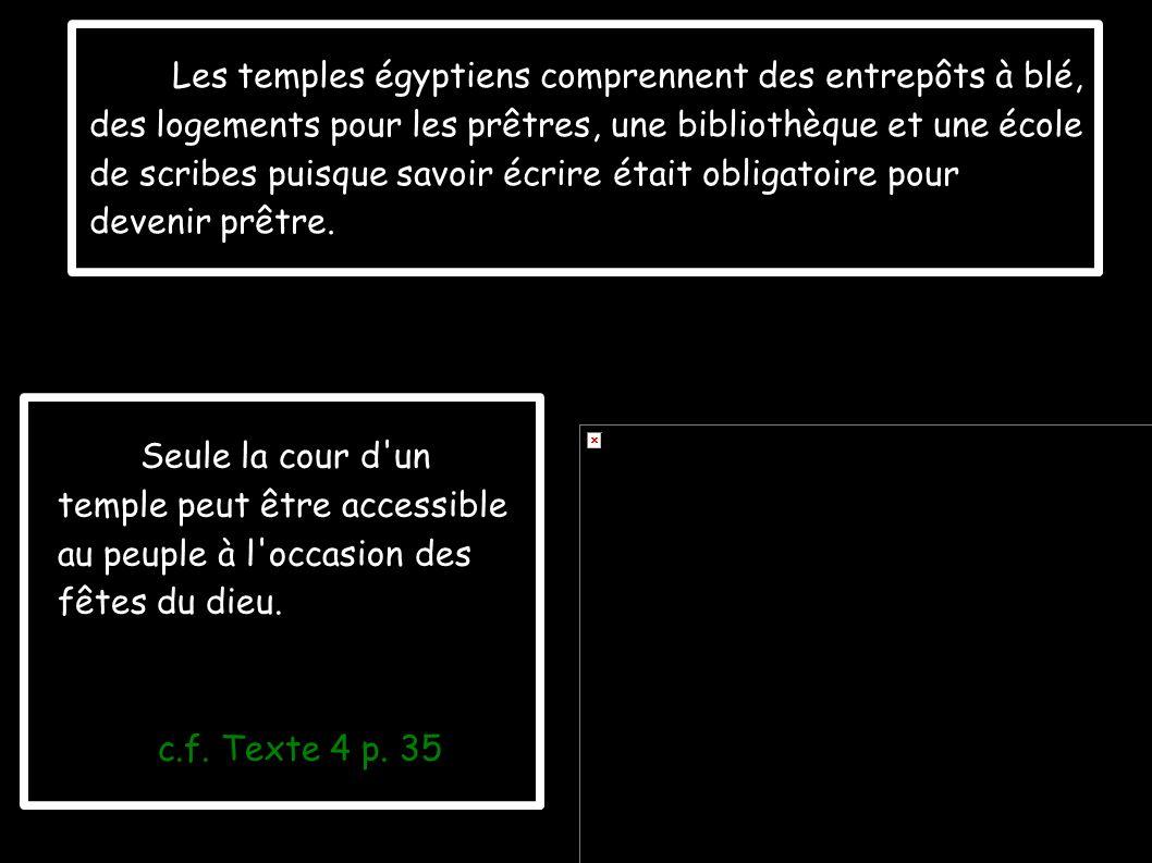 Les temples égyptiens comprennent des entrepôts à blé, des logements pour les prêtres, une bibliothèque et une école de scribes puisque savoir écrire
