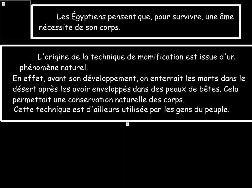 Les Égyptiens pensent que, pour survivre, une âme nécessite de son corps. L'origine de la technique de momification est issue d'un phénomène naturel.