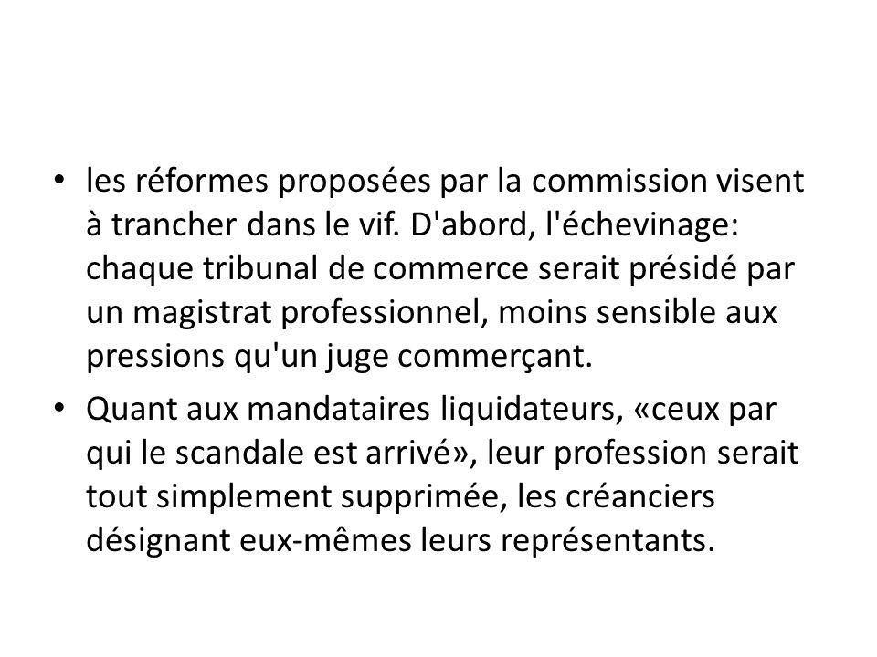 les réformes proposées par la commission visent à trancher dans le vif. D'abord, l'échevinage: chaque tribunal de commerce serait présidé par un magis