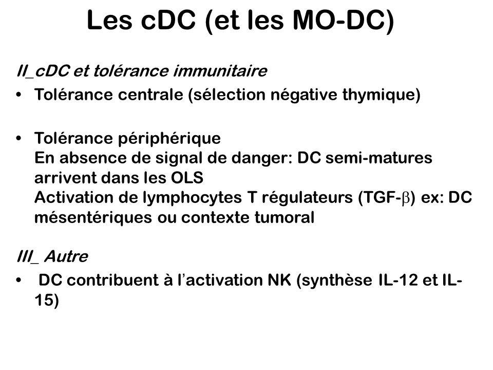 II_cDC et tolérance immunitaire Tolérance centrale (sélection négative thymique) Tolérance périphérique En absence de signal de danger: DC semi-mature