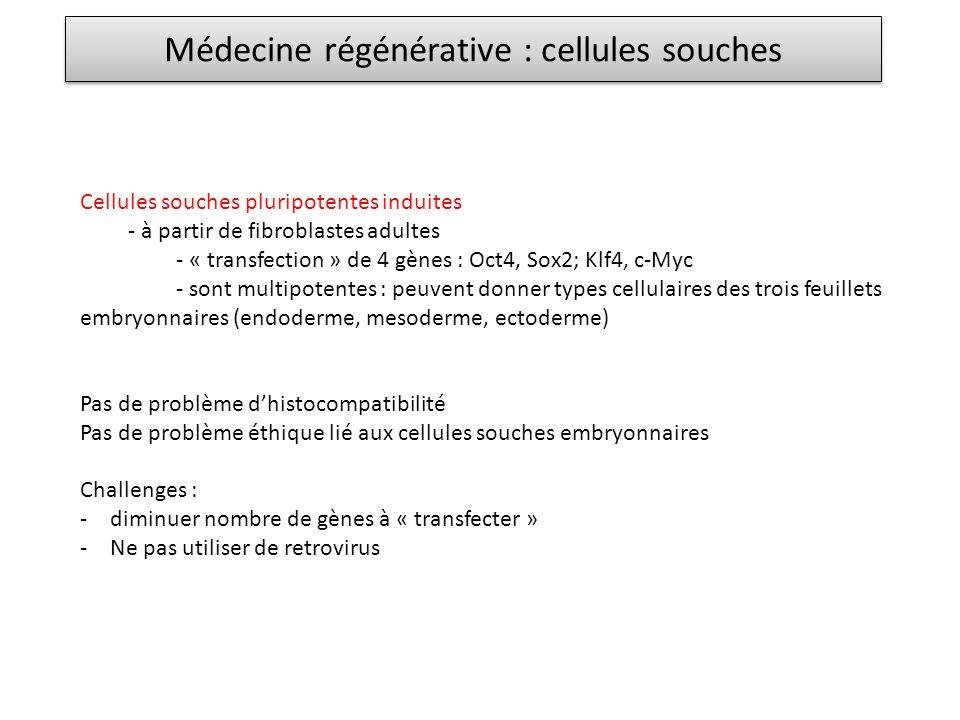 Médecine régénérative : cellules souches Cellules souches pluripotentes induites - à partir de fibroblastes adultes - « transfection » de 4 gènes : Oct4, Sox2; Klf4, c-Myc - sont multipotentes : peuvent donner types cellulaires des trois feuillets embryonnaires (endoderme, mesoderme, ectoderme) Pas de problème dhistocompatibilité Pas de problème éthique lié aux cellules souches embryonnaires Challenges : -diminuer nombre de gènes à « transfecter » -Ne pas utiliser de retrovirus