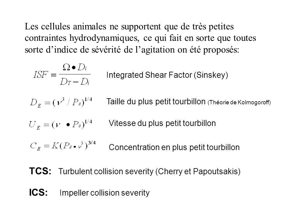Les cellules animales ne supportent que de très petites contraintes hydrodynamiques, ce qui fait en sorte que toutes sorte dindice de sévérité de lagitation on été proposés: Integrated Shear Factor (Sinskey) Taille du plus petit tourbillon (Théorie de Kolmogoroff) Vitesse du plus petit tourbillon TCS: Turbulent collision severity (Cherry et Papoutsakis) ICS: Impeller collision severity Concentration en plus petit tourbillon
