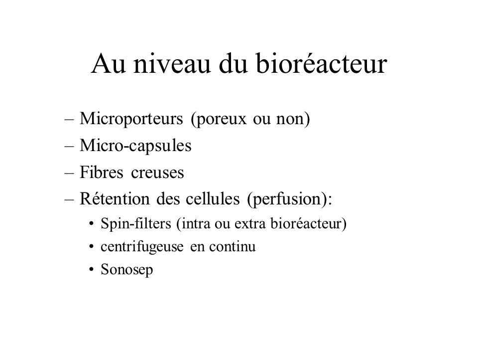 Au niveau du bioréacteur –Microporteurs (poreux ou non) –Micro-capsules –Fibres creuses –Rétention des cellules (perfusion): Spin-filters (intra ou ex