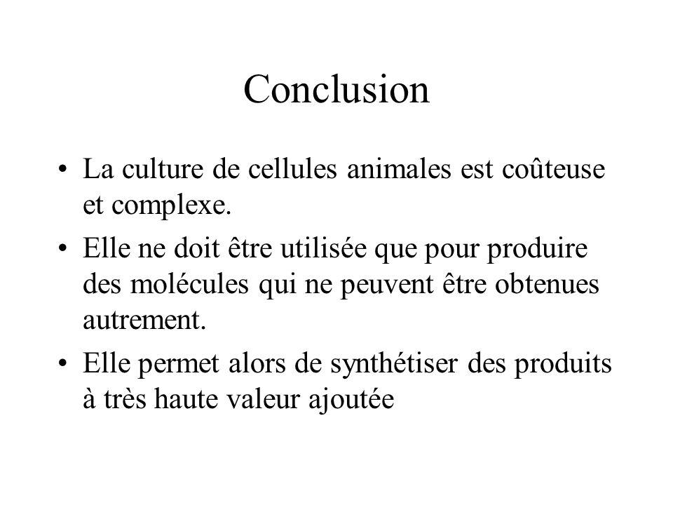Conclusion La culture de cellules animales est coûteuse et complexe. Elle ne doit être utilisée que pour produire des molécules qui ne peuvent être ob