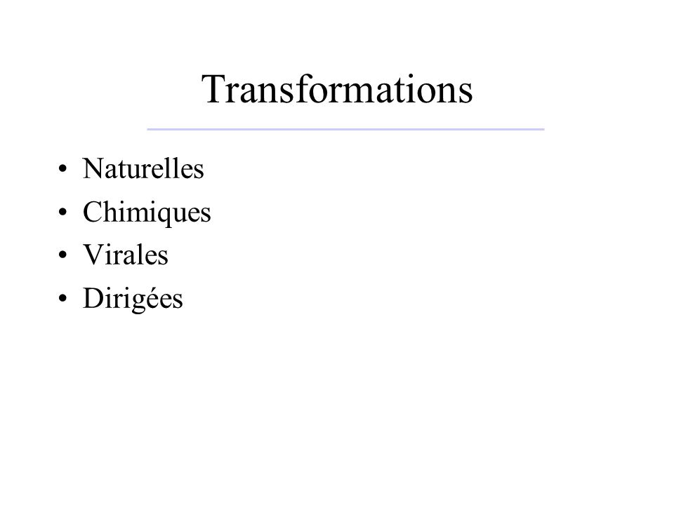 Transformations Naturelles Chimiques Virales Dirigées