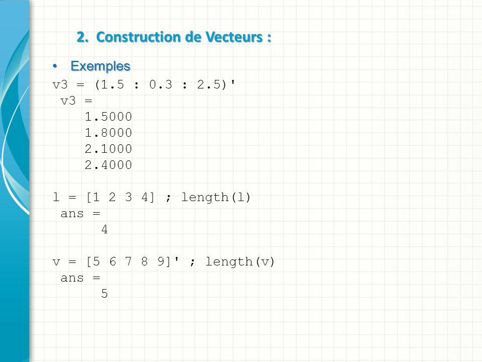 2. Construction de Vecteurs : Exemples Exemples v3 = (1.5 : 0.3 : 2.5)' v3 = 1.5000 1.8000 2.1000 2.4000 l = [1 2 3 4] ; length(l) ans = 4 v = [5 6 7