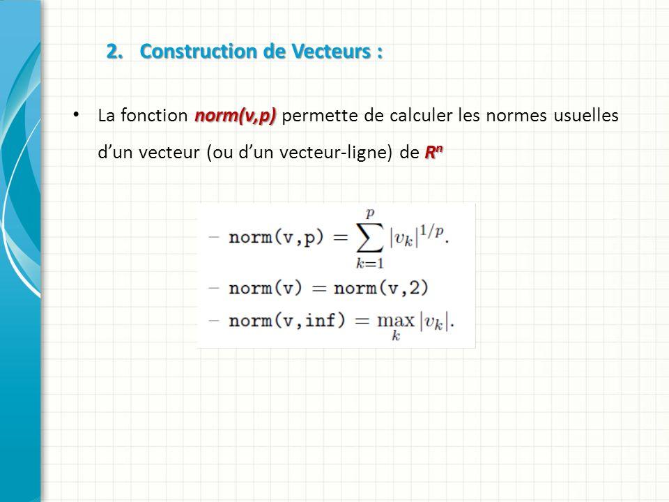 2.Construction de Vecteurs : norm(v,p) R n La fonction norm(v,p) permette de calculer les normes usuelles dun vecteur (ou dun vecteur-ligne) de R n