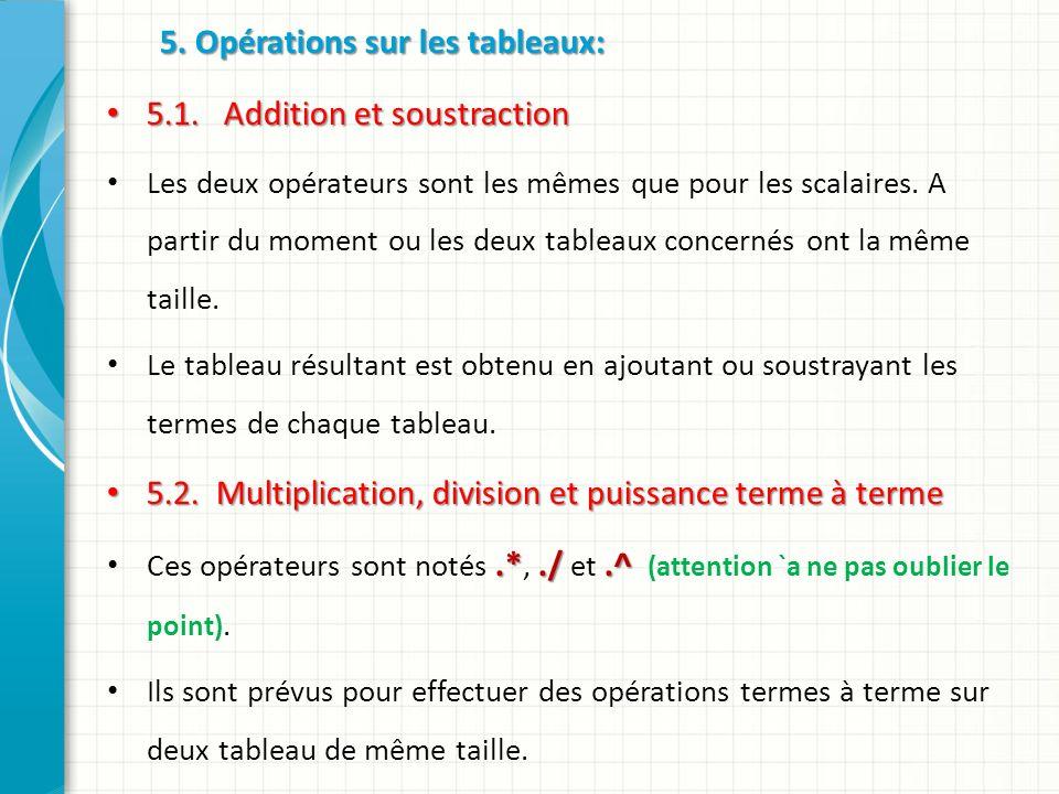 5. Opérations sur les tableaux: 5.1. Addition et soustraction 5.1.