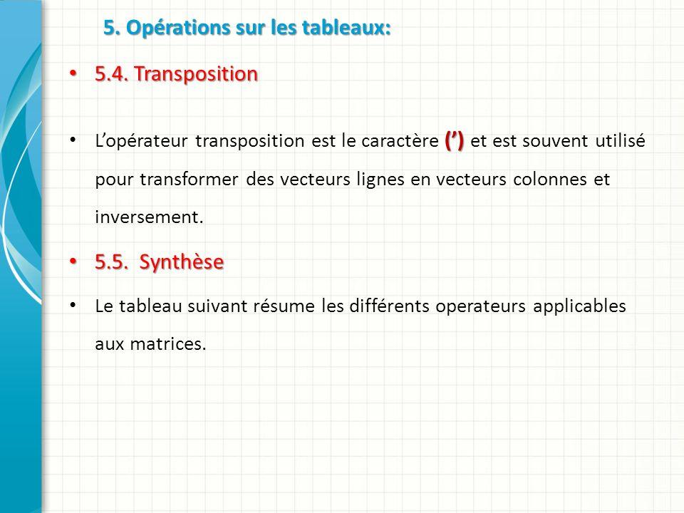 5. Opérations sur les tableaux: 5.4. Transposition 5.4.