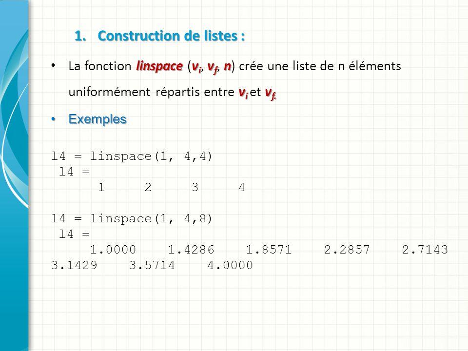 2.Construction de Vecteurs : On peut définir la valeur dun vecteur en tapant entre deux crochets la suite de ses éléments séparées par des points-virgules.