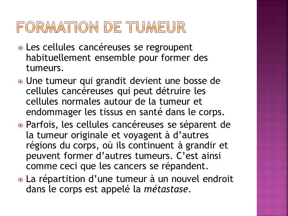 Les cellules cancéreuses se regroupent habituellement ensemble pour former des tumeurs. Une tumeur qui grandit devient une bosse de cellules cancéreus