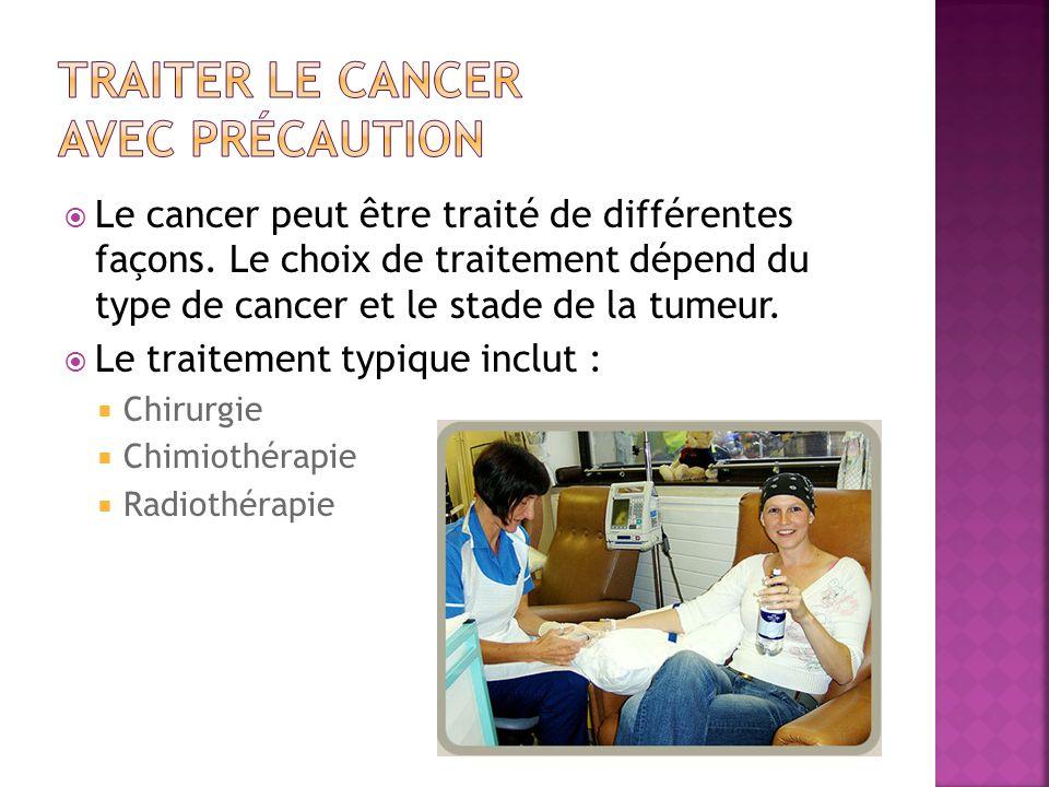 Le cancer peut être traité de différentes façons. Le choix de traitement dépend du type de cancer et le stade de la tumeur. Le traitement typique incl