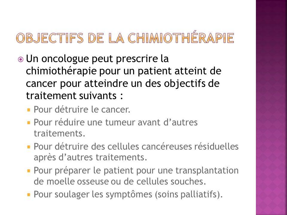 Un oncologue peut prescrire la chimiothérapie pour un patient atteint de cancer pour atteindre un des objectifs de traitement suivants : Pour détruire