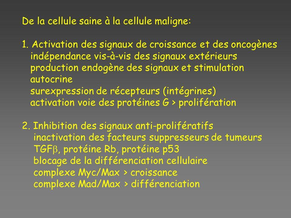 De la cellule saine à la cellule maligne: 1. Activation des signaux de croissance et des oncogènes indépendance vis-à-vis des signaux extérieurs produ