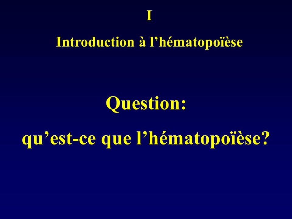 DEFINITION de lhématopoïèse: Ensemble des phénomènes qui concourent à la fabrication et au remplacement continu et régulé des cellules sanguines Question: où cela se passe-t-il?