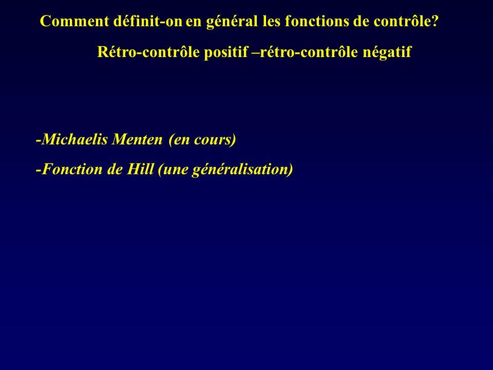 Comment définit-on en général les fonctions de contrôle? -Michaelis Menten (en cours) -Fonction de Hill (une généralisation) Rétro-contrôle positif –r