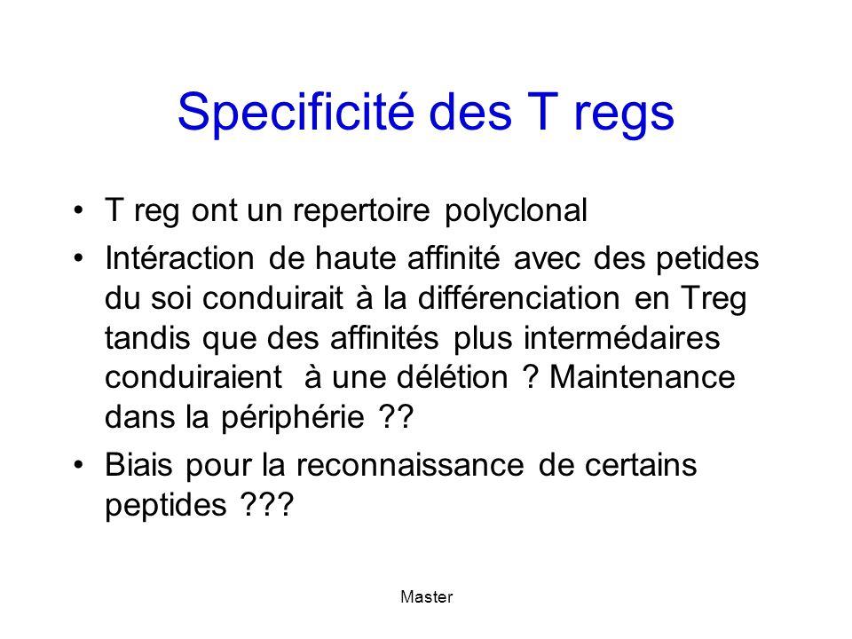 Master Specificité des T regs T reg ont un repertoire polyclonal Intéraction de haute affinité avec des petides du soi conduirait à la différenciation en Treg tandis que des affinités plus intermédaires conduiraient à une délétion .