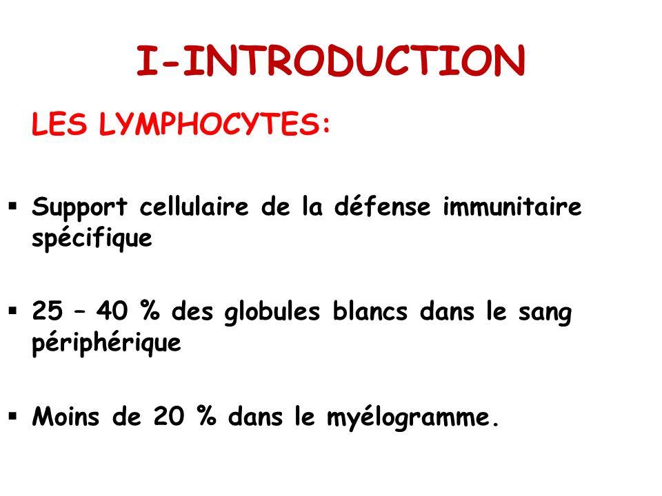 I-INTRODUCTION LES LYMPHOCYTES: Support cellulaire de la défense immunitaire spécifique 25 – 40 % des globules blancs dans le sang périphérique Moins de 20 % dans le myélogramme.