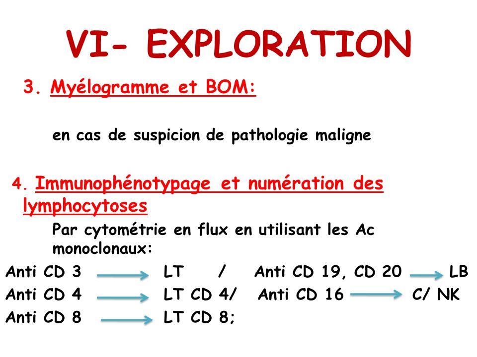 VI- EXPLORATION 3. Myélogramme et BOM: en cas de suspicion de pathologie maligne 4. Immunophénotypage et numération des lymphocytoses Par cytométrie e