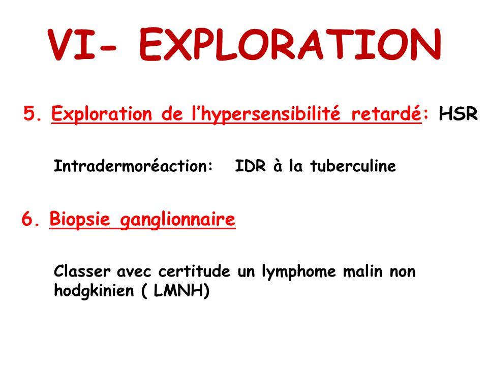 VI- EXPLORATION 5. Exploration de lhypersensibilité retardé: HSR Intradermoréaction: IDR à la tuberculine 6. Biopsie ganglionnaire Classer avec certit