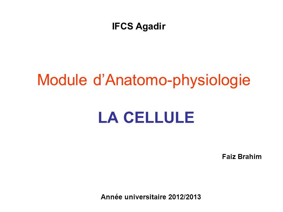 Module dAnatomo-physiologie LA CELLULE Année universitaire 2012/2013 IFCS Agadir Faiz Brahim
