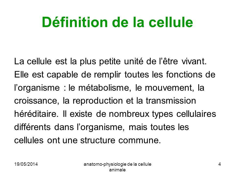 19/05/2014anatomo-physiologie de la cellule animale 4 Définition de la cellule La cellule est la plus petite unité de lêtre vivant. Elle est capable d