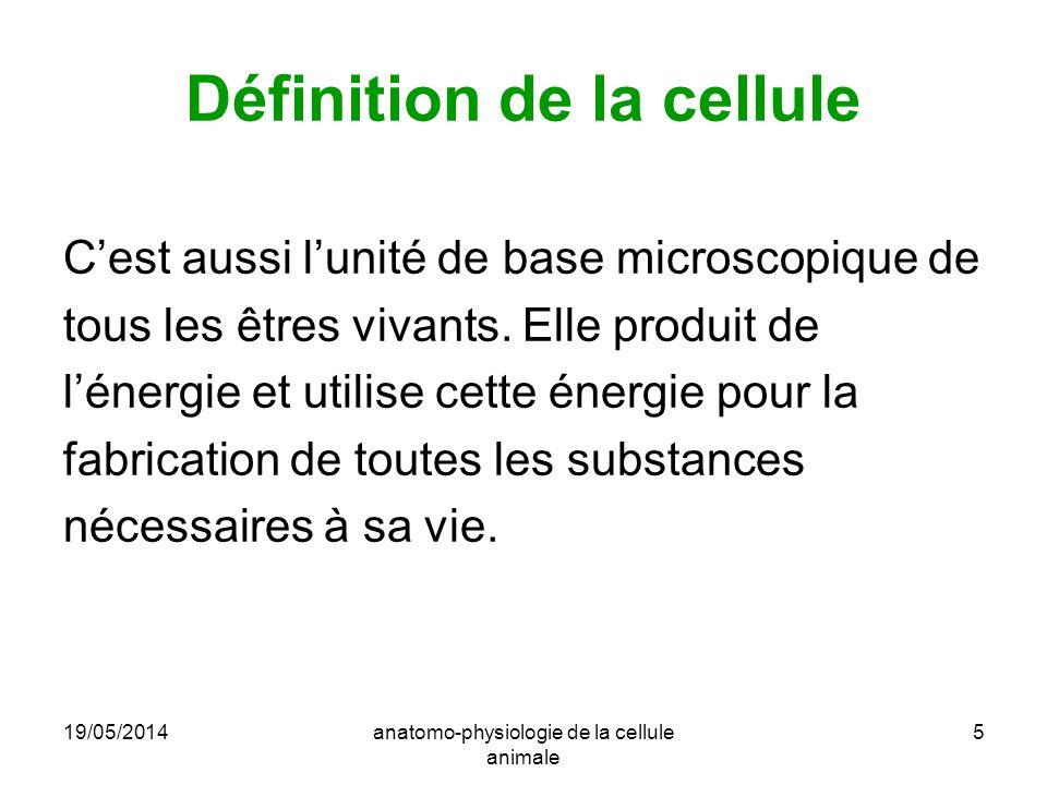 19/05/2014anatomo-physiologie de la cellule animale 5 Définition de la cellule Cest aussi lunité de base microscopique de tous les êtres vivants. Elle