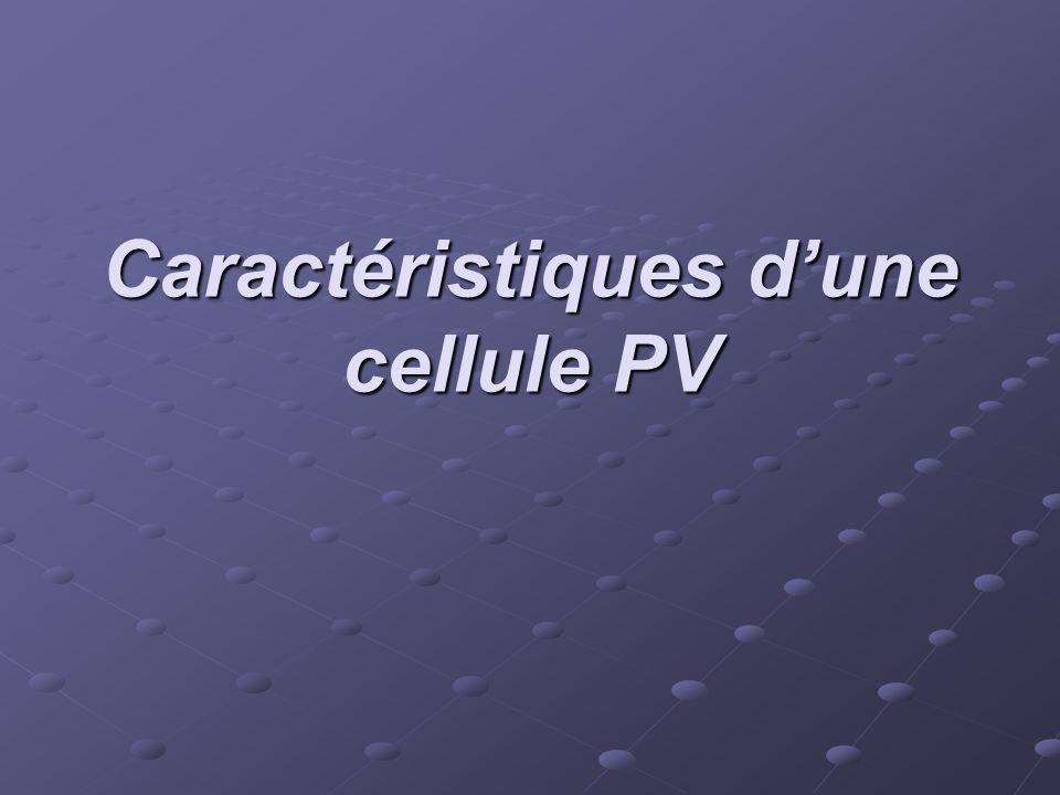 Caractéristiques dune cellule PV
