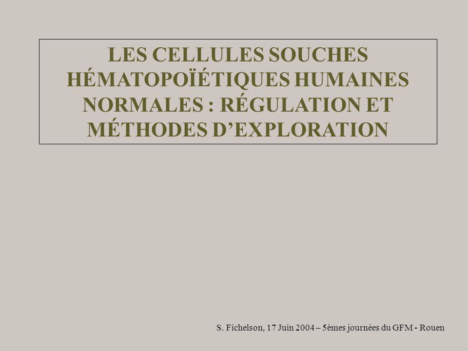 LES CELLULES SOUCHES HÉMATOPOÏÉTIQUES HUMAINES NORMALES : RÉGULATION ET MÉTHODES DEXPLORATION S. Fichelson, 17 Juin 2004 – 5èmes journées du GFM - Rou