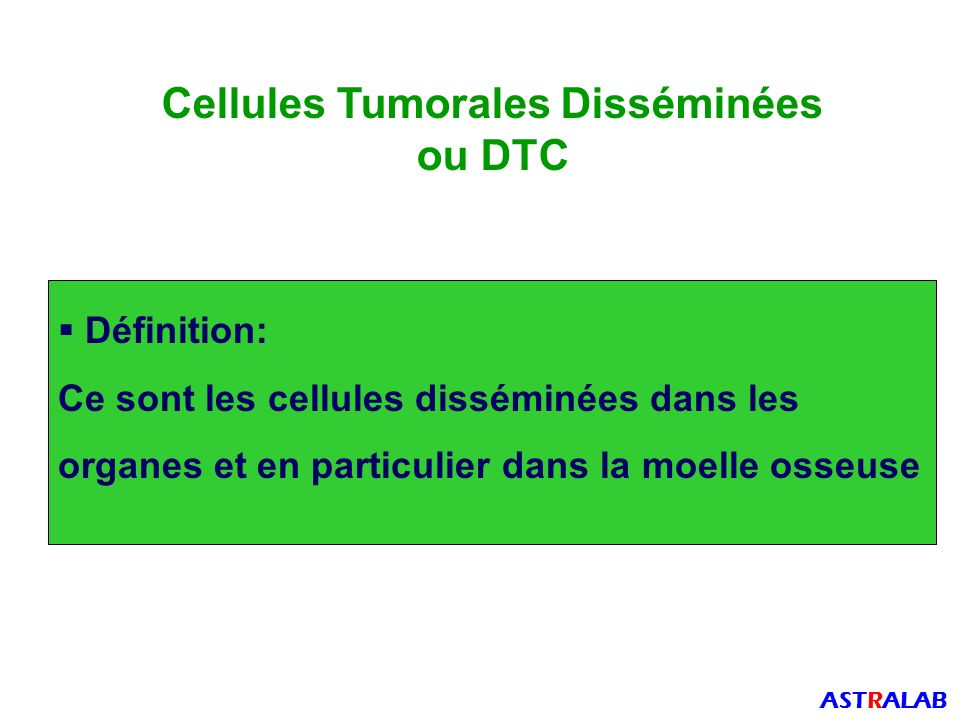 Nature des CTC Il existe des sous-populations de CTC Cellules épithéliales Cellules mésenchymateuses ASTRALAB